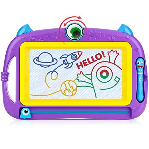 Peradix Magnetische Maltafel Zaubertafeln,32x21cm Reisegröße Bunt Zeichentafeln mit 2 pens und schönen Aufklebern für Kinder 3 4 5 Geschenke(Lila)