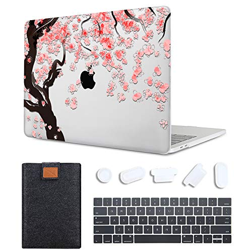 MAITTAO Newest MacBook Pro 13 Inch Case 2020 Release Model M1 A2338 A2289 A2251, Soft Touch Hard Shell Case Cover with Laptop Sleeve & Key Cover for Apple Mac Pro 13 Touch Bar & ID, Cherry Blossoms