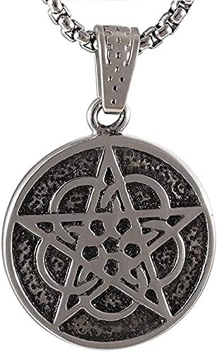 NC198 Collar con Colgante de Medalla Redonda de Acero Inoxidable Unisex Collar con Colgante Retro de Moda Personalizado y patrón de Estrella de Cinco Puntas