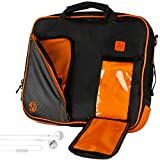 VanGoddy Pindar Messenger Bag Black/Orange Carrying Case for Apple iPad 9.7-inch + White