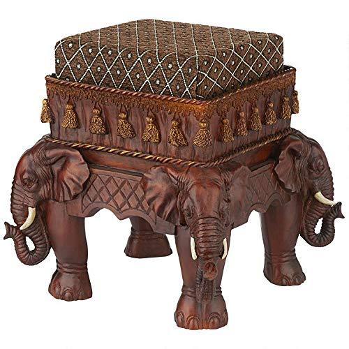 Design Toscano Maharajah olifanten Indiaas decor gewatteerde voetenbank, polyhars, houttint, 38 cm