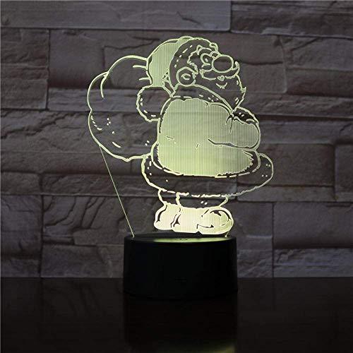 Lámpara de ilusión 3d luz de noche led navidad santa claus lámpara de mesa decoración adecuada para bebé regalo colorido con pilas con control remoto