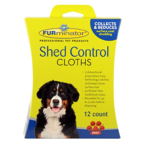FURminator Dog Shed Control Cloths, 12-Count