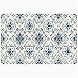 Alfombrilla de baño Patrón de Talavera Azulejos Textura de cerámica Oriental Portugal México Cuadrado Adorno Turco Alfombras de baño de Felpa Decorativas Vintage Alfombras Decoración Felpudo Respaldo