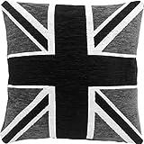 Union Jack Funda de Cojín Cuadrado Gris y Negro Pesado Deluxe Material - 43 CM