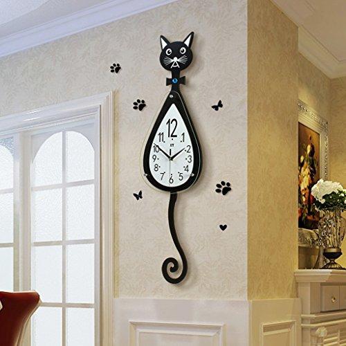 Chat Modélisation BRICOLAGE Horloge Murale, GZD 3D Grand Fer Horloge Murale En Métal Salon Horloge...