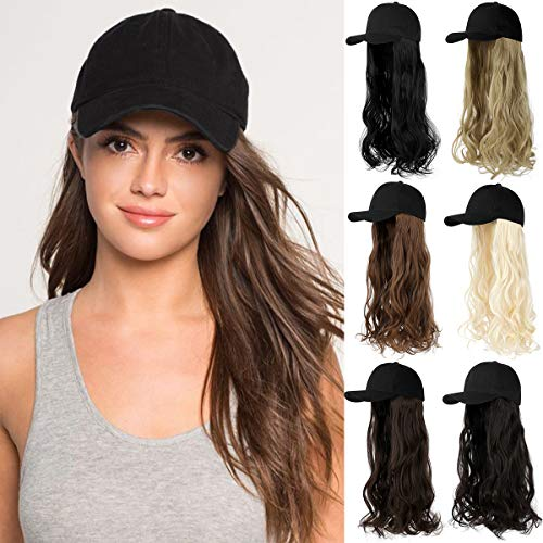Qlenkay Synthetic Hair Hat 24' Long Curly Wavy Hairpiece Adjustable Baseball Cap Attached Natural Wig for Women Girls Bleach Blonde