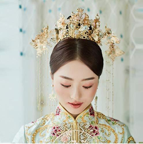 Chinese Stijl Haar Ornamenten Goud Tassel Phoenix Oude Kostuum Show wo Kleding Draak en Phoenix Jurk Klassieke Bruiloft Kleding met Accessoires
