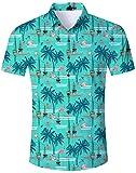 Unisex 3D Impreso Camisas de Verano de Manga Corta Ocasional Camisetas Verde Hawaii Flamenco Camisas para Hombres Adolescentes XXL