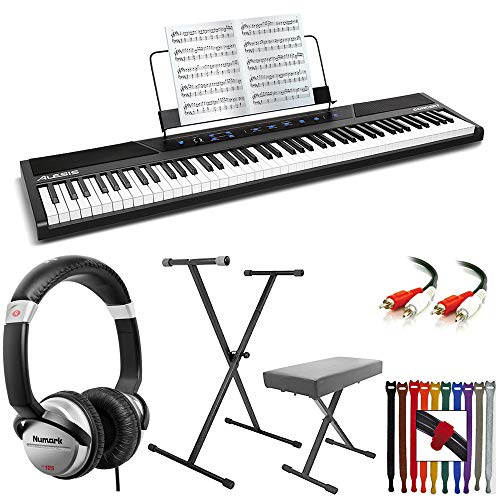 Alesis Concert 88-Key Digital Piano with Full-Size Semi Weighted Keys With Touch Response + Keyboard Stand & Bench Pak + DJ Headphones + Audio Cable + Colored Rip-Tie Cable Strap