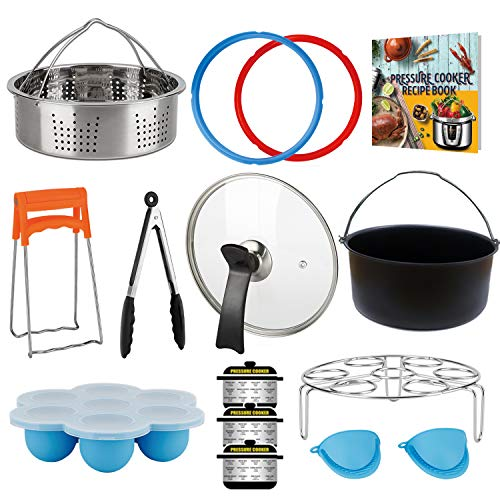 3 Quart Accessories for Instant Pot, Including Cake Baking Barrel, Steamer Basket, Tempered Glass Lid, Silicone Sealing Rings, Egg Steamer Rack, Egg Bites Molds, and More