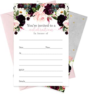 Ruby Floral Party Invitations and Pink Envelopes (15 Pack) Any Occasions
