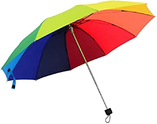 Rainbow color 10 Rib Strong Enough Wind Resistant Frame, Collapsible, Compact and Durable, Lightweight and Cute Travel Umbrella