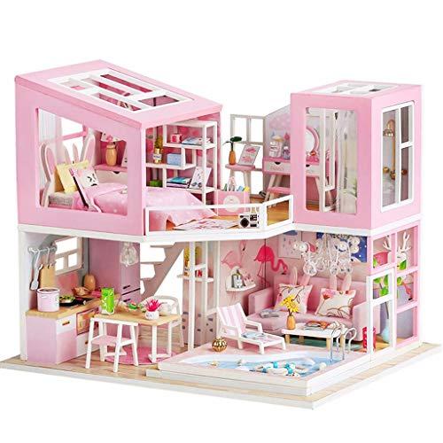 Kit per artigianato in camera artigianale, kit modello di casa delle bambole in miniatura in legno con mobili, luci a LED e parapolvere, regalo di compleanno per bambini Gioco per famiglie in casa