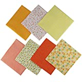 Jukway 7 Pezzi Tessuto di Cotone 50 x 50 cm Stampati Stoffa Patchwork Quadrati Tessuti Bundle Design Assortiti Trapuntato Cucito Fai da Te Decorazione Artigianato Quilting Scrapbooking (Giallo)