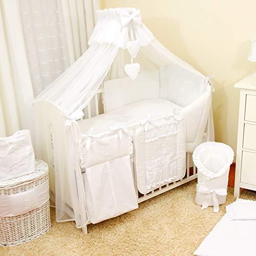 Literie de bébé ensemble set XXL complet 18 pièces linge parure de lit 100% coton avec broderie +...