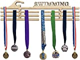 Arena Gifts Swimming Medal Hanger Display - Paintable Wooden Awards Holder Sports Rack for Swim Races- Displays Up to 24 Hanging Medals or Ribbons - Sturdy Wall Mount, Easy to Install