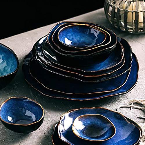 ZLDGYG 2/4 Persona Setware Set de vajilla Azul Cerámica Cerámica Forma Irregular Cena Conjunto Platos Placa (Color : Style Two)