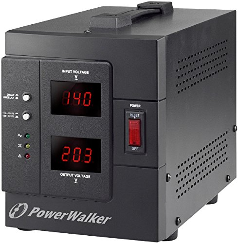 PowerWalker AVR 2000/SIV Regolatore di tensione, 2 Uscita AC 230V (Schuko), 50/60 Hz, 1600W, Nero