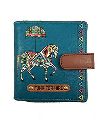 Funk For Hire Women Printed Petrol Blue Leatherette Wallet