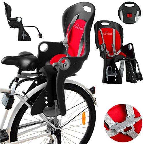 Campela Kinderfahrradsitz für Gepäckträger - fahrradsitz Kinder hinten, kindersitz Fahrrad, Modell CA0060RED