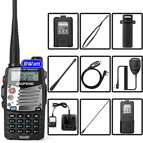 BaoFeng (UV-5R Pro) Ham Radio Handheld Walkie Talkies UHF VHF Dual Band 2-Way Radio Full Kit with an Extra 3800mAh Battery, Earpiece and Programming Cable (1 Pack). Buy it now for 59.99