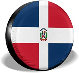 KUneh Dominican Republic Flag Car Tire Cover Car Wheels Protector Tire Cover Waterproof Uv Sun 14 - 17 Fit for Jeep Trailer Rv SUV and Many Vehicle