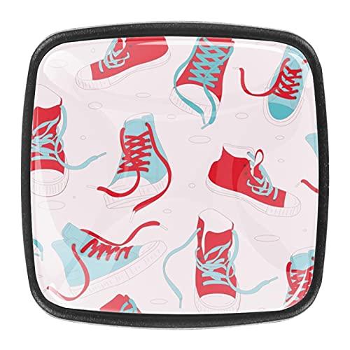 (4 piezas) pomos de cajón para cajones, tiradores de cristal para gabinete, hogar, oficina, armario, patrón de zapatero de 35 mm