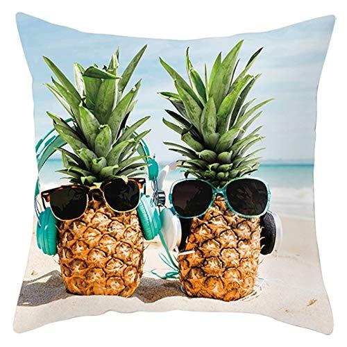 Socoz Funda cuadrada de poliéster con diseño de piña y gafas de sol en la playa, color amarillo y verde