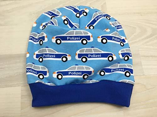 Beanie Mütze mit Polizei auf hellblau Kopfumfang 53-58 cm