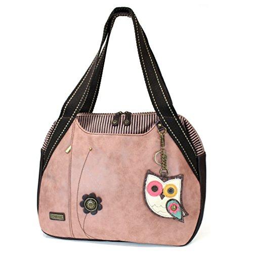 Chala Handbags Dust Rose Shoulder Purse Tote Bag with Bird Key Fob/coin purse (Owl)