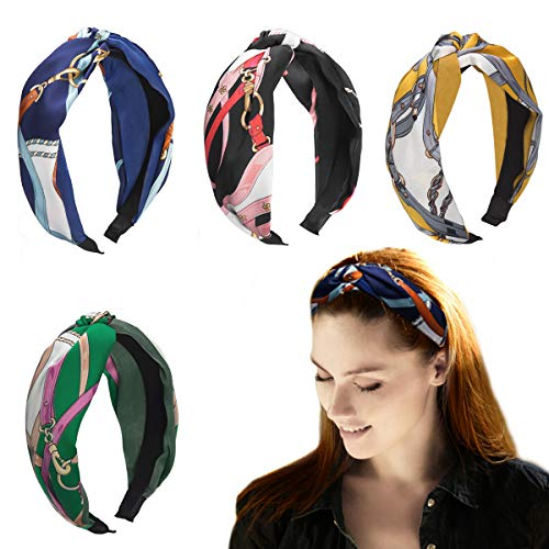 HBselect 4 Stück Haarreife Haarband Stirnband Satin vintage Kopf Warp mit Knoten koreanisches und verknotetes Haarband im Retro Style für Damen