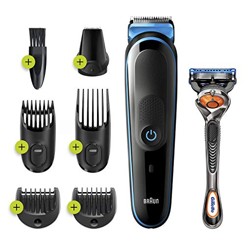 Braun Hair Clippers for Men MGK3245 7-in-1 Beard Trimmer, Detail Trimmer, Cordless & Rechargeable with Gillette ProGlide Razor, Blue, 1 Count, (Pack of 1)