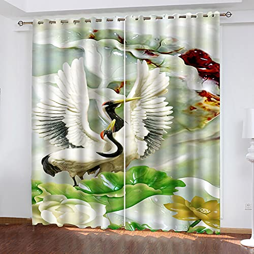 KLily Cortinas De Varilla Perforadas Serie Animal Simple Pájaro para Dormitorios De Estudiantes