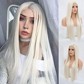 Blue Bird Platinum Blonde Synthetic Hair Lace Front Wigs for White Women Silk Straight Long Glueless Half Hand Tied Replacement Full Wig Heat Resistant for Daily Wear