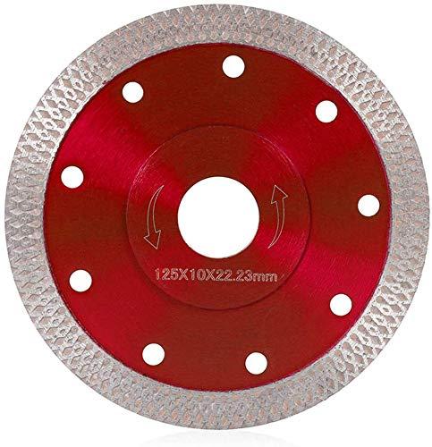 Disco de Corte de Diamante Hoja de Diamante en Seco para Gres Porcelánico, Granito, Cerámica, Cuarcita, Mármol (rojo, 115mm)