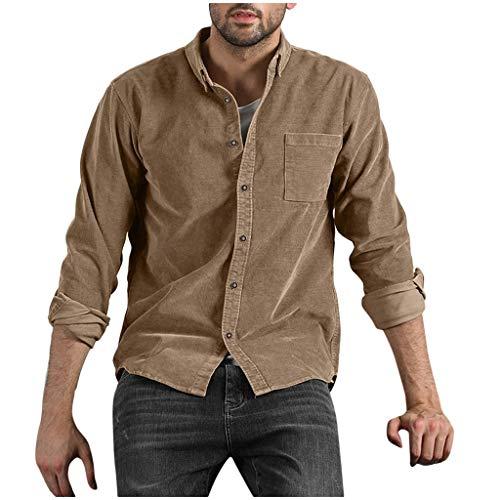 Men Autumn Shirts Regular Fit Outwear Long Sleeve Button Down Shirt Corduroy Classic Tops Coat (M, Khaki)