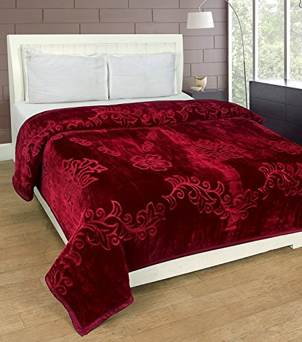 HOMECRUST Embossed Blankets Solid Colour Ultra Soft Floral Single Bed Mink Light Winter Blanket 152x218 cms (Maroon)