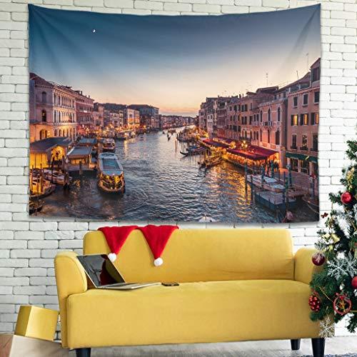 Tentenentent Canal Grande con Gondeln en Venecia Musterdruck Wandbehang bella Wanddeko universal - Paisaje para Event Dekorationen White 230x150 cm