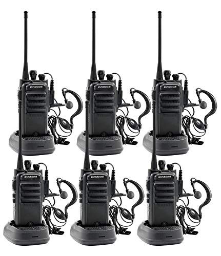 Winmoom intercoms Wireless for Home 2 Way radios Midland walkie talkies Waterproof Two-Way 2 Radios with Earpiece 6 Pack UHF 400-480Mhz 1800mAh Li-ion Battery and Charger Included