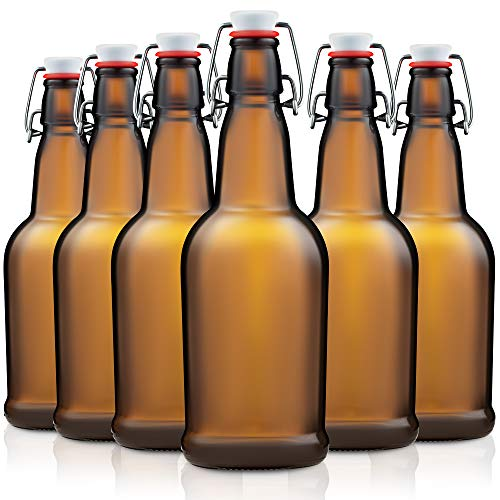 Amber Glass Swing Top Beer Bottles - 16-Ounce (6-Pack) Grolsch Bottles, with Flip-Top Airtight Lid, for Carbonated Drinks, Kombucha, 2nd Fermentation, Water Kefir, UV-Protection Brewing Bottle.