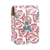 Paris - Estuche de lápiz labial exterior para monedero, mini bolsa de lápiz labial de viaje con espejo para mujer, lleva hasta 3 pintalabios
