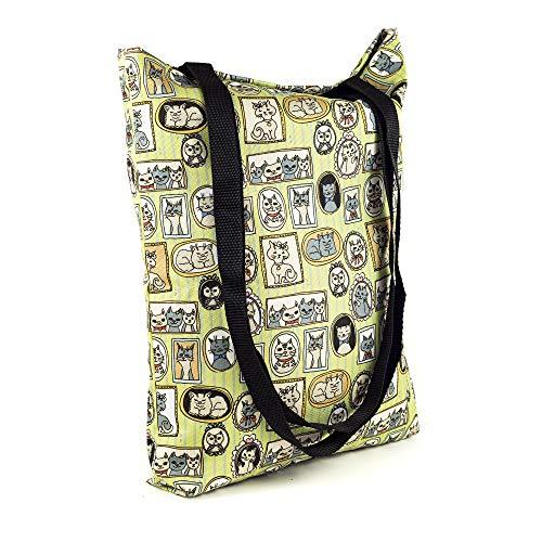 LimeWorks Einkaufstasche Schultertasche Beutel Tragetasche - Motiv Katzen-Muster Bilder-Rahmen - gefüttert