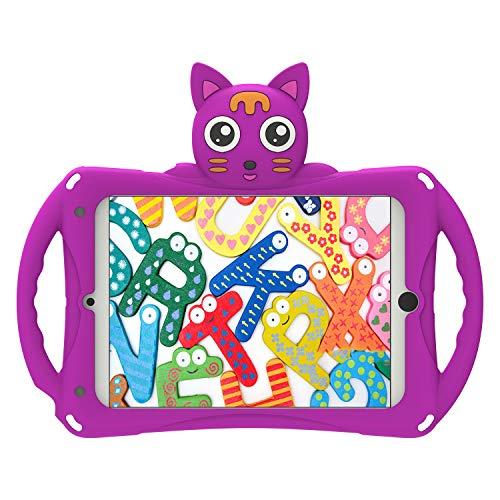 Geagesus iPad Mini 1/2/3/4/5 Kids Case,Geageaus Shockproof Handle Stand Cover for Apple 7.9 inch iPad Mini,iPad Mini 2,iPad Mini 3,iPad Mini 4,iPad Mini 5Tablet, (Mini5/4/3/2/1,cat Series/purple)