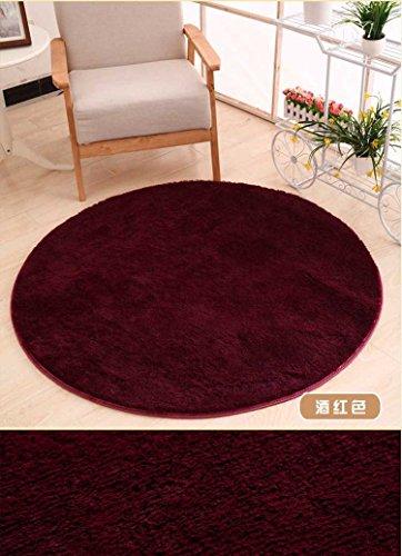 KOOCO 0,8 m Runde seidig Anti-Slip Plüsch Shaggy Teppiche und Teppichböden für Schlafzimmer Wohnzimmer Wohnzimmer, Hellgrün