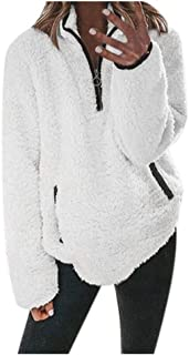Women's Long-Sleeved Zipper Plush Sweater Fashion Coat Top Casual Solid Color Pullover