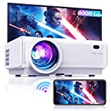 "TOPTRO Mini WiFi Bluetooth Projector,Upgraded 6000 Lumen Wireless Mirroring Projector,1080P&200""Supported,Portable Home Theater Projector,Compatible"