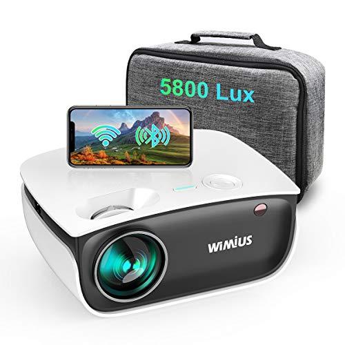Vidéoprojecteur WiFi, WiMiUS 5800 Lumens Projecteur Bluetooth Soutien Full HD 1080p, Projecteur WiFi Synchronisation avec Fonction de Zoom, Mini Projecteur Portable pour HDMI/ USB/ TV Box/ AV/ PC/ PS4