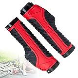 SXJXB Empuñadura de Goma Ergonómica Antideslizante para Bicicleta, Empuñaduras de Mano Bionic Palmprint MTB con Doble Anillo de Bloqueo de Aleación de Aluminio,Rojo