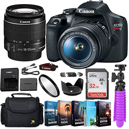Canon EOS Rebel T7 DSLR Camera Bundle with Canon EF-S 18-55mm f/3.5-5.6 is II Lens + Gadget Case + 32GB Sandisk Memory Card + Accessory Kit (13 Items)